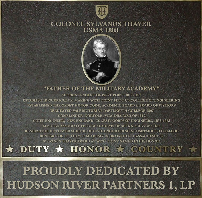 Dedication plaque in honor of Colonel Sylvanus Thayer, USMA 1808