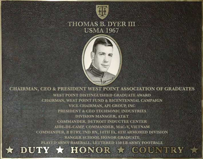Dedication plaque in honor of Thomas B. Dyer III, USMA 1967